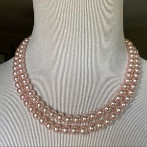 VTG double strand pink pearls with sterling clasp